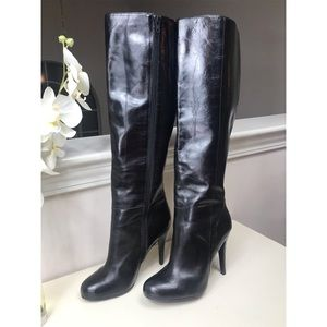 Aldo, Black Leather High Heel Boots